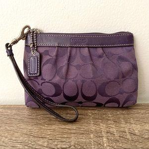 🌙COACH Purple Sateen Cloth Signature Logo Bag